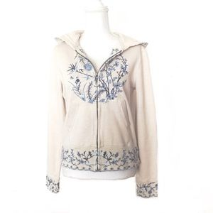 Lucky Brand Vintage Zip Up Hoodie Embroidered
